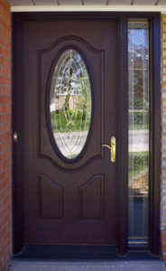 Exterior door with glass insert